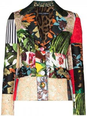 Однобортный блейзер в технике пэчворк Dolce & Gabbana. Цвет: черный