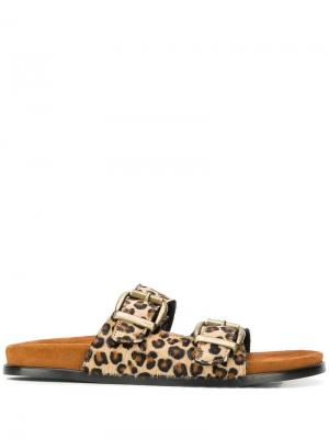 Леопардовые шлепанцы с пряжками Avec Modération. Цвет: коричневый