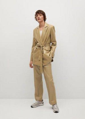 Прямые брюки из искусственной кожи - Mac Mango. Цвет: оливковый