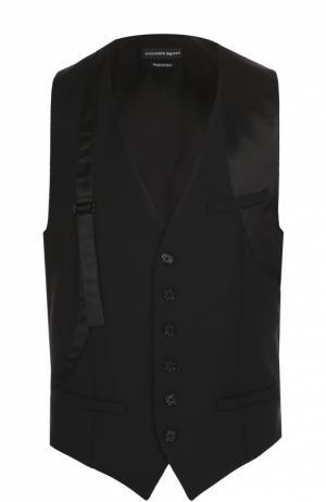 Шерстяной жилет с декоративным ремешком Alexander McQueen. Цвет: черный