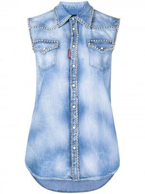 Джинсовая рубашка с кристаллами Dsquared2. Цвет: синий