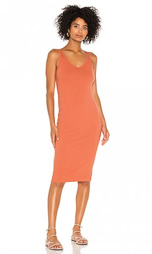 Платье миди Enza Costa. Цвет: оранжевый