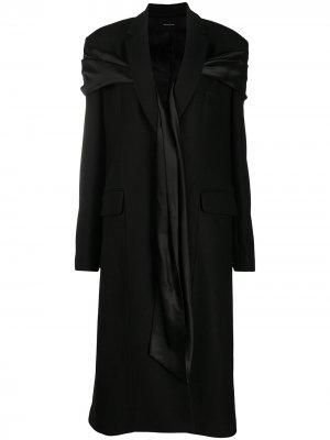 Пальто с атласным шарфом Simone Rocha. Цвет: черный