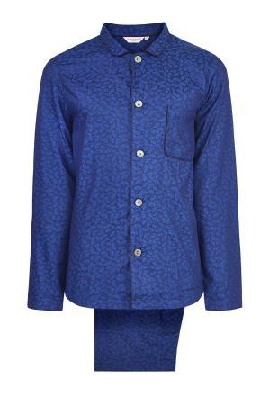 Пижама с принтом листьев гинкго DEREK ROSE. Цвет: синий