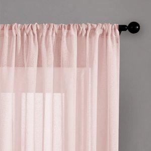 Простая прозрачная штора 1шт SHEIN. Цвет: розовые