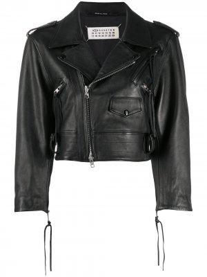 Укороченная байкерская куртка Maison Margiela. Цвет: черный