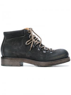 Массивные ботинки на шнуровке Del Carlo. Цвет: черный