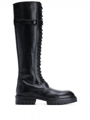 Сапоги в стиле милитари на шнуровке Ann Demeulemeester. Цвет: черный