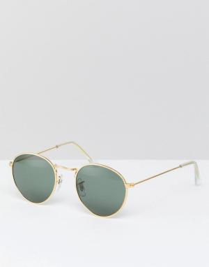 Круглые солнцезащитные очки в золотистой оправе Inspired эксклюзивно для ASOS Reclaimed Vintage. Цвет: золотой