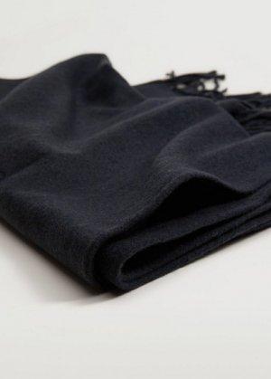 Базовый шарф с бахромой - Basic Mango. Цвет: темно-синий