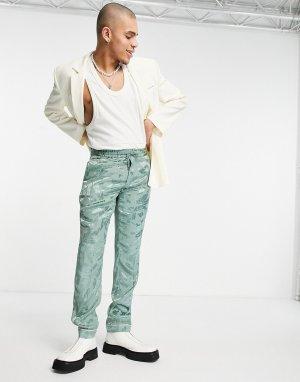 Пижамные брюки зеленого цвета облегающего кроя из сатина с цветочным узором -Зеленый цвет ASOS DESIGN