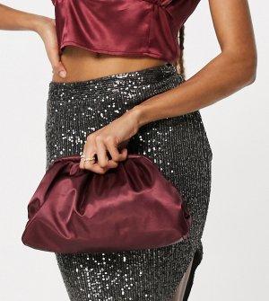 Эксклюзивный темно-бордовый стеганый клатч-подушка из атласа -Красный Glamorous