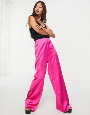 Атласные брюки клеш от комплекта цвета розовой фуксии -Розовый цвет Flounce London