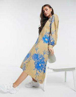 Бежевое платье миди с присборенной юбкой из органического хлопка Marty-Бежевый Just Female