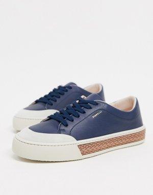 Темно-синие кожаные кроссовки на шнуровке Finley-Темно-синий Fiorelli