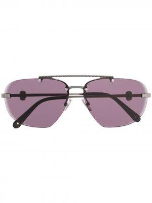 Солнцезащитные очки-авиаторы с декором Skull Philipp Plein. Цвет: черный