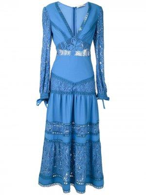 Кружевное платье миди Yana Martha Medeiros. Цвет: синий