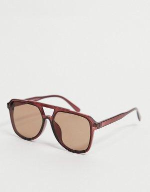 Солнцезащитные очки-навигаторы в черепаховой оправе -Коричневый цвет New Look
