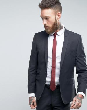 Темно-серый узкий пиджак Ben Sherman. Цвет: темно-синий