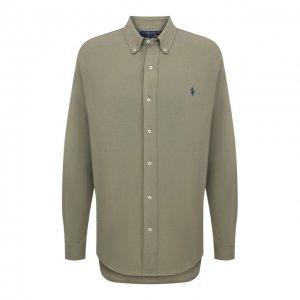 Хлопковая рубашка Polo Ralph Lauren. Цвет: зелёный