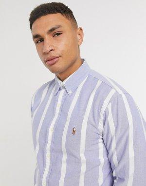Полосатая оксфордская рубашка классического кроя на пуговицах с фирменным логотипом голубого и белого цвета -Голубой Polo Ralph Lauren