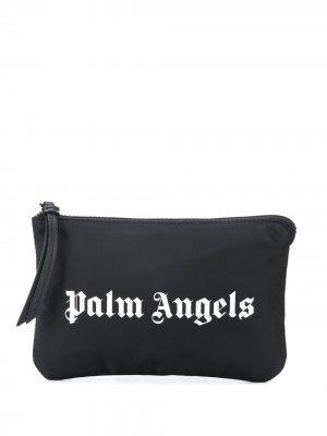 Клатч на молнии с логотипом Palm Angels. Цвет: черный