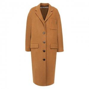 Шерстяное пальто Alexander Wang. Цвет: бежевый