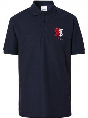 Рубашка-поло с контрастным логотипом Burberry. Цвет: синий