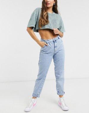 Голубые широкие джинсы -Синий New Look