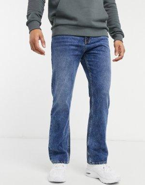 Расклешенные джинсы цвета индиго -Голубой Bershka