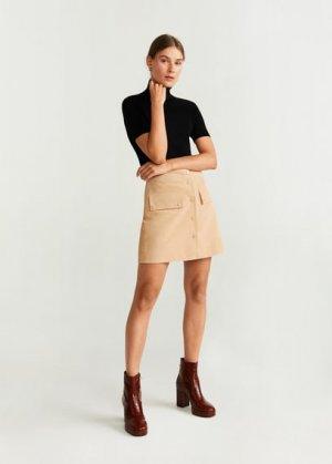 Кожаная юбка - Emilia Mango. Цвет: песочный