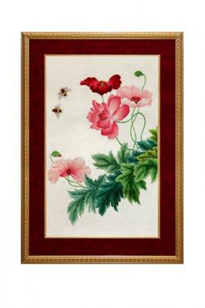 Картина Вьюнок розовый Живой шелк. Цвет: белый, розовый, зеленый