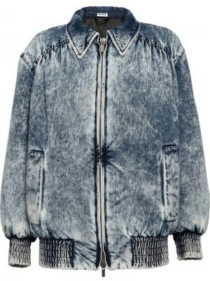 Джинсовая куртка с эффектом варенки Miu. Цвет: синий