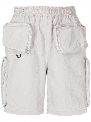 Шорты-бермуды Approach с карманами Stussy. Цвет: серый