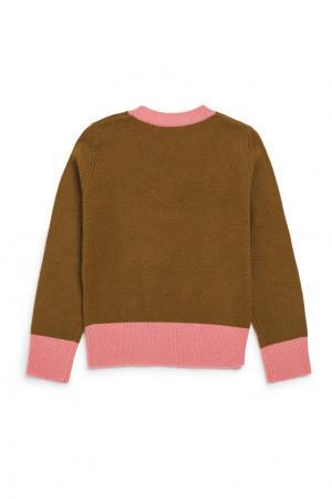Пуловер коричневый из кашемира Bonpoint. Цвет: коричневый