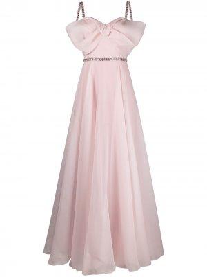 Расклешенное платье с бантом Jenny Packham. Цвет: розовый