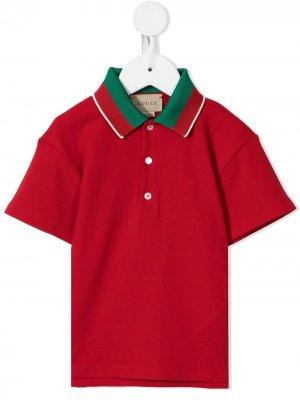 Рубашка поло с отделкой в полоску Gucci Kids. Цвет: красный