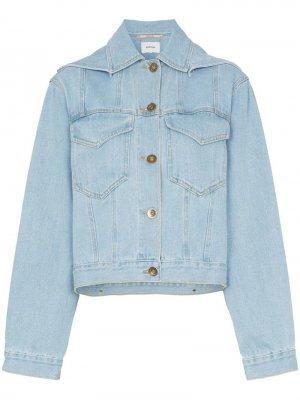 Укороченная джинсовая куртка Mojave с капюшоном Nanushka. Цвет: синий