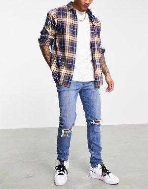 Синие джинсы скинни с рваными коленями -Голубой ASOS DESIGN