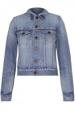 Укороченная джинсовая куртка с вышивкой на спинке Saint Laurent. Цвет: голубой