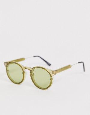 Круглые солнцезащитные очки в зеленой оправе post punk-Зеленый Spitfire