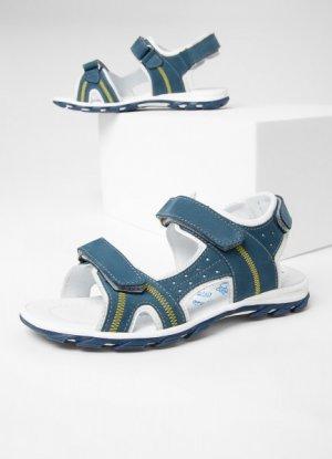 Кожаные сандалии для мальчиков O`Stin. Цвет: сине-белый