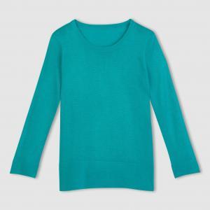 Пуловер 50% вискозы. Длинные рукава La Redoute Collections. Цвет: ярко-розовый