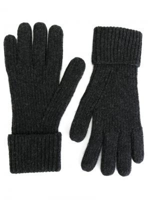 Перчатки ребристой вязки N.Peal. Цвет: серый
