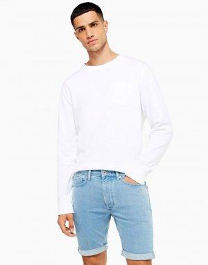 Выбеленные облегающие шорты из эластичного денима -Голубой Topman