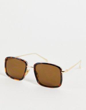 Квадратные солнцезащитные очки в коричневой черепаховой оправе стиле унисекс Aldo-Коричневый цвет A.Kjaerbede