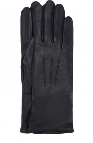 Кожаные перчатки с подкладкой из шерсти Agnelle. Цвет: синий