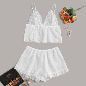 Белый Кайма Небольшие точки Сексуальное женское белье SHEIN. Цвет: белые