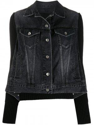 Ribbed denim jacket Sacai. Цвет: черный