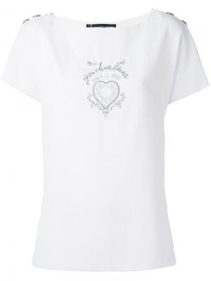 Топ с изображением сердца Jean Louis Scherrer Pre-Owned. Цвет: белый
